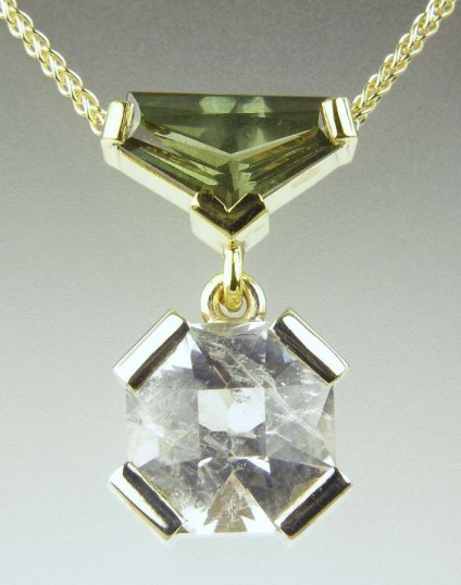 Shetland quartz & green sapphire pendant - Shetland quartz supplied by Hascosay Gems (hascosay@hotmail.com), set with 1.27ct tapered baguette green sapphire, as a pendant in white and yellow 9ct gold