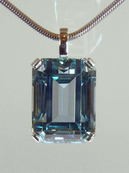 Aquamarine pendant - 26.22ct unheated aquamarine emerald cut set in 18ct white gold