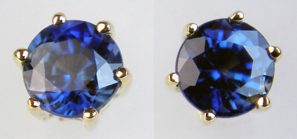 Sapphire earstuds in 9ct yellow gold - Round cut sapphires set in 9ct yellow gold earstuds