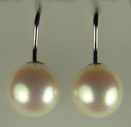 Cultured Pearl Earrings - 10-10.5mm round cultured pearl drops on simple 14ct white gold hook earrings