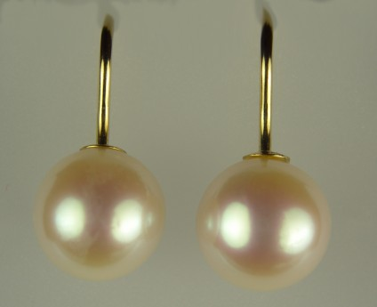 Cultured Pearl Earrings - 10-10.5mm round cultured pearl drops on simple 14ct yellow gold hook earrings