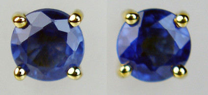 Sapphire earstuds in 9ct yellow gold - Pair of round cut blue sapphires clawset in 9ct yellow gold