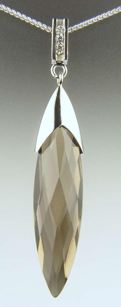 Smoky quartz & diamond pendant - 17.02ct smoky quartz briolette pendant mounted with 3 x 2mm round white diamonds in 18ct white gold