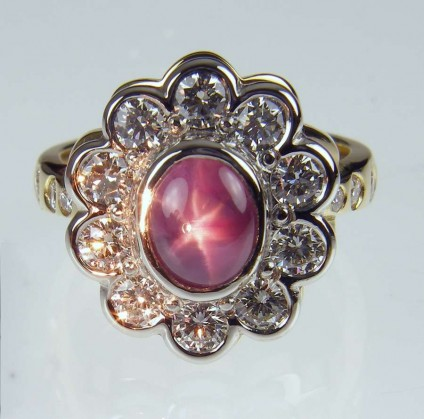 Star sapphire & diamond ring - 2.29ct oval star pink sapphire set with 1.25ct white diamonds in platinum & 18ct yellow gold