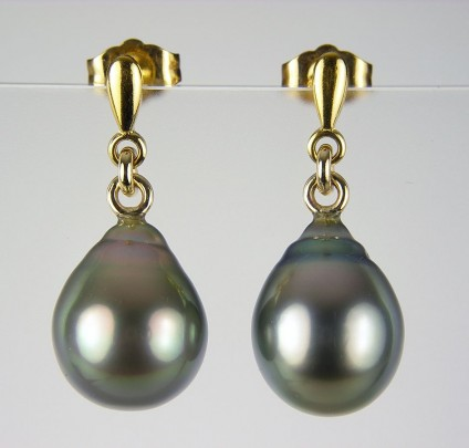 Tahitian pearl drops earrings in gold - Tahitian baroque pearl eardrops in 9ct yellow gold.