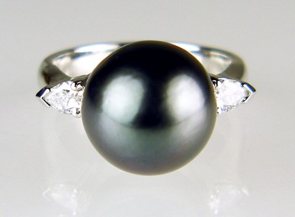 Tahitian pearl & diamond ring in platinum - 10mm black Tahitian pearl set with a 0.3ct pair of pear cut diamonds in a platinum handmade ring