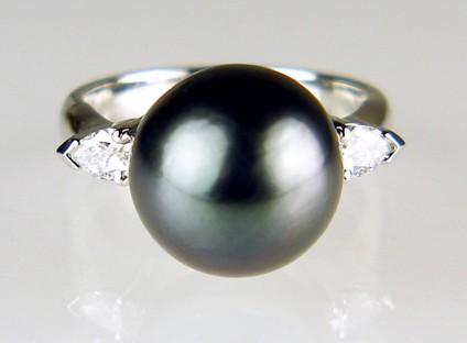 Tahitian pearl & diamond ring in platinum - 10mm black Tahitian pearl set with a 0.3ct pair of pear cut diamonds in a platinum handmade ring