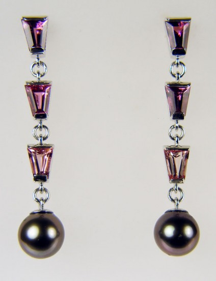 Tourmaline & Tahitian pearl earrings - Round Tahitian pearls (customer's own) set with tapered baguette cut tourmalines in shades of pink in 9ct white gold
