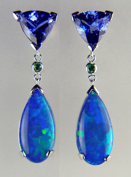 Tanzanite, tsavorite & opal doublet earrings - 4.67ct trillion cut tanzanite pair, set with 0.1ct tsavorite round pair, and 18.5 x 9mm opal doublet pair as glorious earrings in 18ct white gold