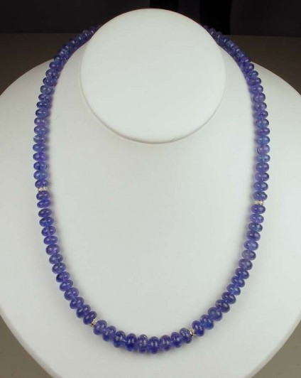 Tanzanite & Diamond Necklace - Top quality polished tanzanite roundel beads set with 14ct white gold and diamond spacers with a 14ct white gold clasp.