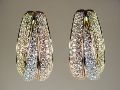 Three tone gold diamond earrings - 1.69ct diamond earrings set in 18ct rose, white & yellow gold