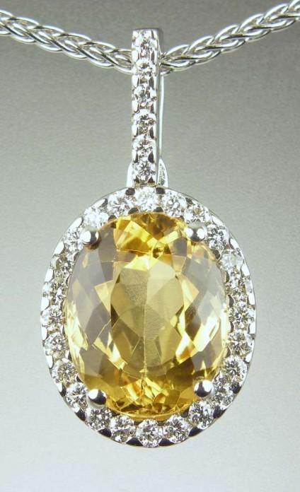 Topaz & diamond pendant - 2.35ct yellow topaz set with diamonds in 18ct white gold pendant, and chain