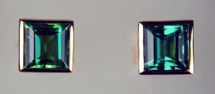 Sea Green colour tourmaline square cut stud earrings in 18ct rose gold - 1.75ct sea green colour tourmaline pair set in rubover 18ct rose gold earstuds