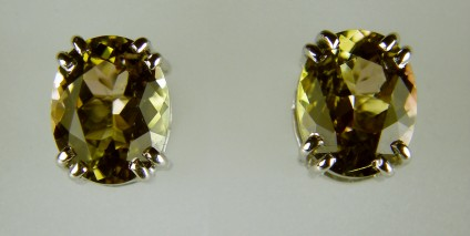Bicolour Tourmaline Earrings - 3.47ct bicolour tourmaline earrings in 18ct white gold