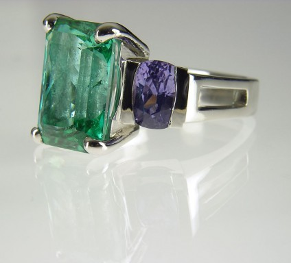 Tourmaline & sapphire ring - Tourmaline & Sapphire Ring 8.86ct sea green tourmaline and 3.59ct lilac sapphire set in platinum.