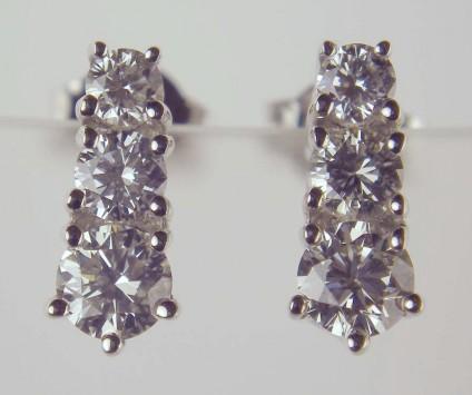 Diamond Earrings - 0.97ct diamond earrings in 18ct white gold