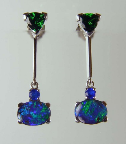 Opal, tsavorite & hauyne earrings - 1.16ct trillion cut tsavorite garnet stud earrings with detachable drops of vivid blue green boulder opal ovals set with round cut electric blue hauyne. All in 18ct white gold.