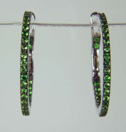 Tsavorite earrings in white gold - 0.48ct round brilliant cut green tsavorite garnets as earring hoops mounted in 18ct white gold
