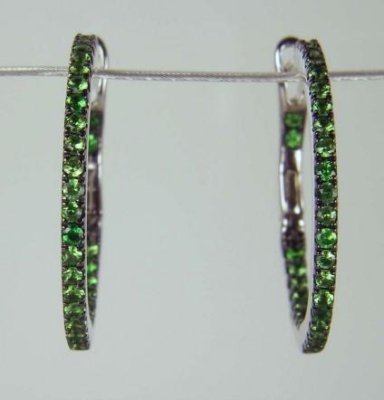 Tsavorite earrings in white gold - 0.48ct round brilliant cut green tsavorite garnets as earring hoops mounted in 18ct white gold