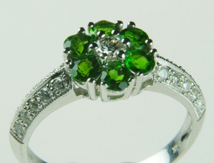 Tsavorite & diamond ring in 18ct white gold - 0.69ct tsavorite cluster ring set with 0.39ct G colour VS clarity diamonds in 18ct white gold