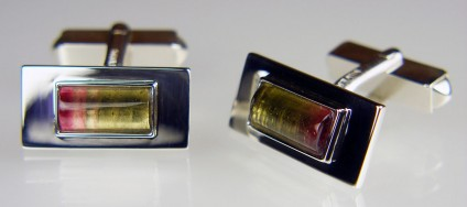 Watermelon tourmaline cabochon cufflinks in silver - 4.07ct pair of rectangular cabochon watermelon tourmalines set in silver