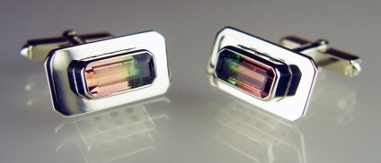 Watermelon tourmaline cufflinks in 9ct white gold - 4.17ct pair of watermelon tourmalines in 9ct white gold cufflinks