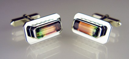 Watermelon tourmaline cufflinks in 9ct white gold - 5.82ct pair of rectangular faceted watermelon tourmalines mounted in 9ct white gold cufflinks