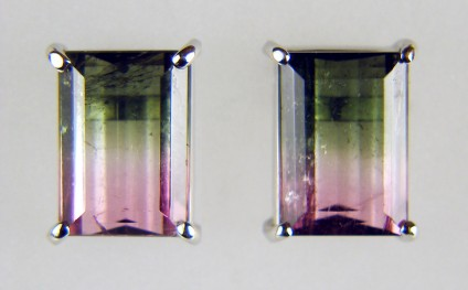 Watermelon tourmaline earrings in platinum - 4.01ct pair of emerald cut bicolour watermelon tourmalines mounted as simple earrings in platinum