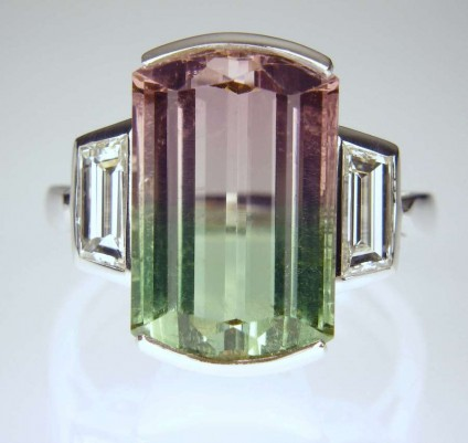Watermelon & tourmaline ring - 9.01ct watermelon tourmaline of exceptional clarity and delicate colour transition from pink to green (from the Kunar Valley, Afghanistan), set with a 0.90ct matched pair of trapeze cut diamonds in G colour VVS clarity, mounted in 18ct white gold