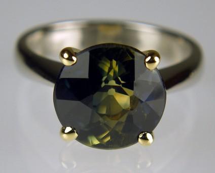 Wattle Sapphire Ring - 5.36ct Wattle sapphire from Australia set in 18ct yellow gold and palladium