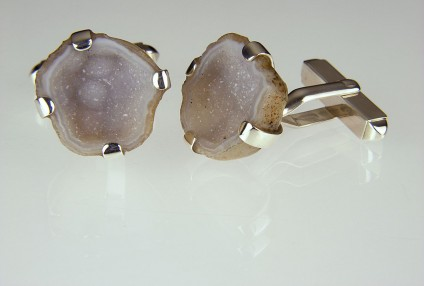 Agate Geode Cufflinks in Silver - Mexican miniature agate geode cufflinks in silver.