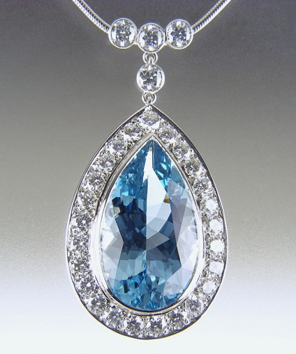 Aquamarine & Diamond Pendant in Platinum - 15ct pear cut aquamarine from Mozambique set with 5ct diamonds in platinum pendant.
